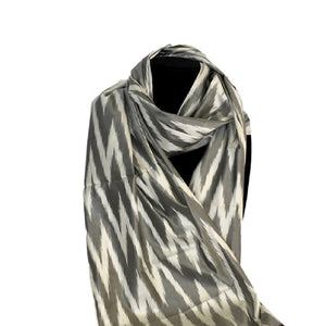 Handwoven Silk Ikat Scarf from Uzbekistan-GREY & WHITE  ZIGZAG