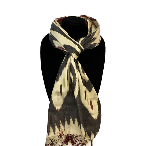 BLACK & CREAM, RED & GREEN IKAT SCARF