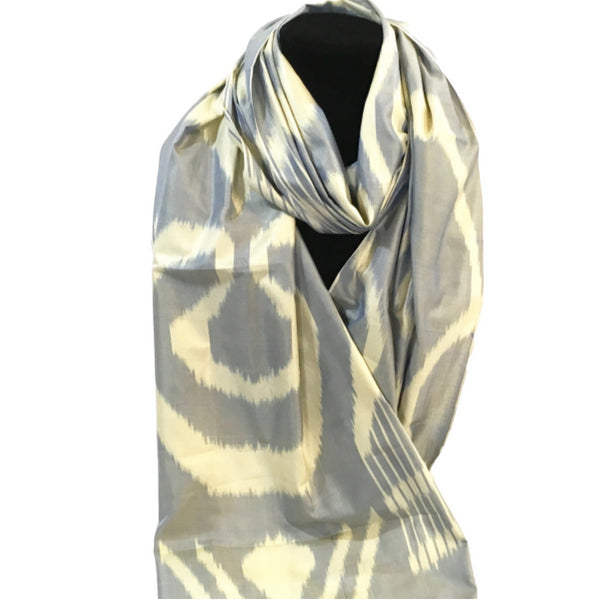 Handwoven Silk Ikat Scarf from Uzbekistan-Grey & Cream