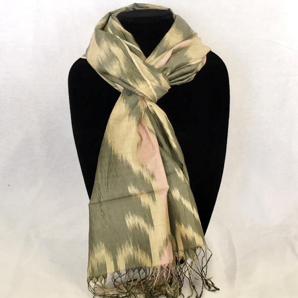 Handwoven Silk Ikat Scarf from Uzbekistan-Grey & Pink