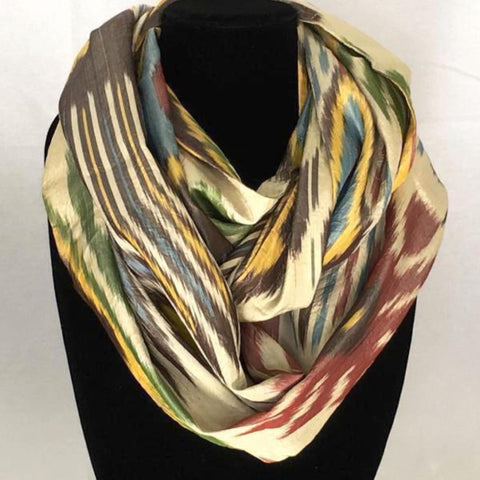 All Silk Ikat Infinity Scarf-Green Tribal