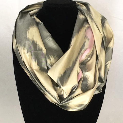 All Silk Ikat Infinity Scarf-Grey & Pink