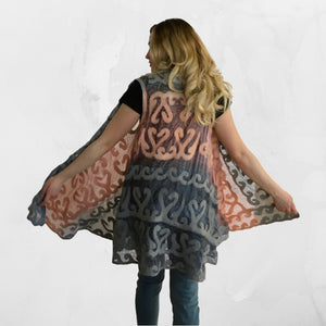 Silk and Felted Long Vest from Kyrgyzstan, Peach & Grey