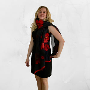 Handmade Kyrgyz felted silk poppy scarf, red on black from HoonArts