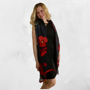 Handmade Kyrgyz felted silk scarf with red poppies on black silk