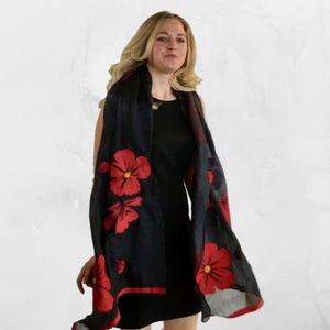 Best handmade Kyrgyz felted silk red poppy scarf on black silk