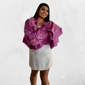 Silk and Felted Scarf/Shawl, Double-Sided, Pink & Fuchsia