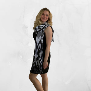 Ikat Silk Scarf-Cotton/Silk Blend-Black & White