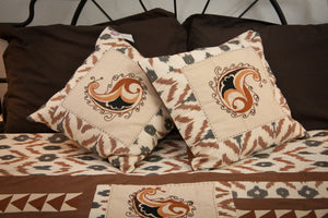 "Ikat & Suzani Bedspread Set, Hand Embroidered ""Qalanfur"" (Pepper) - HoonArts - 4"