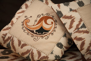 "Ikat & Suzani Bedspread Set, Hand Embroidered ""Qalanfur"" (Pepper) - HoonArts - 5"