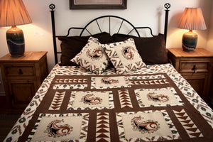 "Ikat & Suzani Bedspread Set, Hand Embroidered ""Qalanfur"" (Pepper) - HoonArts - 2"