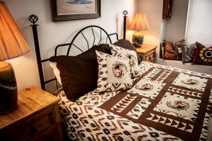 "Ikat & Suzani Bedspread Set, Hand Embroidered ""Qalanfur"" (Pepper) - HoonArts - 3"