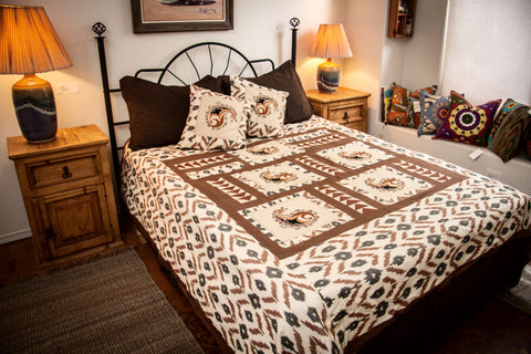 "Ikat & Suzani Bedspread Set, Hand Embroidered ""Qalanfur"" (Pepper)"