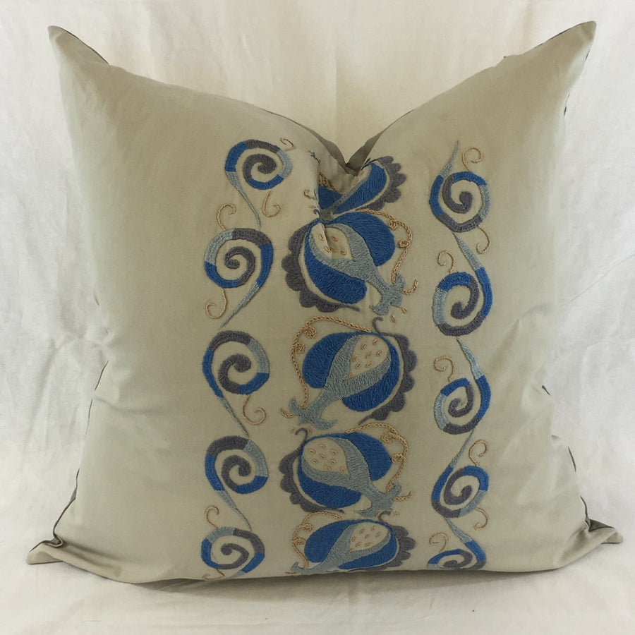 "Anor (Pomegranate)-22"" Square Hand-Embroidered Pillow Cover"