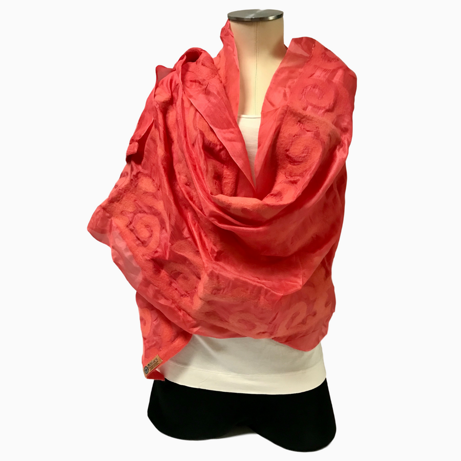 Handmade Coral Felted Silk Scarf with Tribal Patterns from Kyrgyzstan