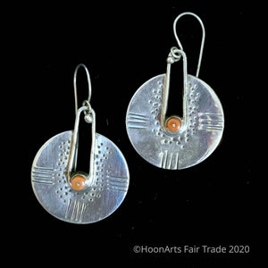"Kyrgyz Handmade Silver Earrings-Round with Coral-""Dilara"""