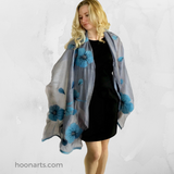 Kyrgyz Hand-Felted Scarf-Turquoise Poppies on Grey-Lifestyle