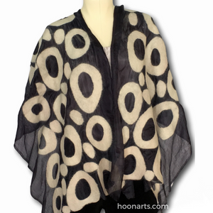 Kyrgyz Felted Silk Shawl-Black & White Circles