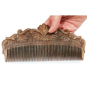 Hand Carved Ornamental Wooden Comb, Large - Fair Trade - HoonArts - 2