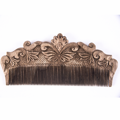 Hand Carved Ornamental Wooden Comb, Large - Fair Trade