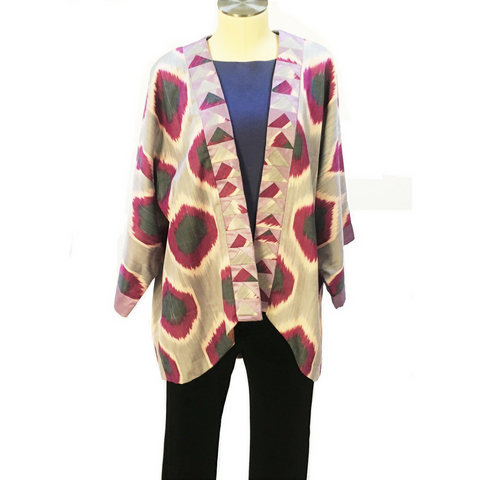 Ikat Kimono Jacket, Silk-Violet, Lavender & Blue with Patchwork Detail