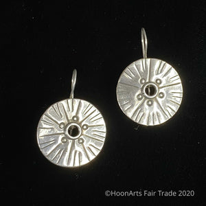 "Medium Size Silver Sunburst Earrings from Kyrgyzstan-""Nazgul"""