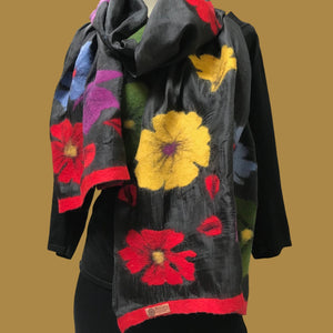 Multi-Colored Felted Poppies on Black Silk Scarf from Kyrgyzstan