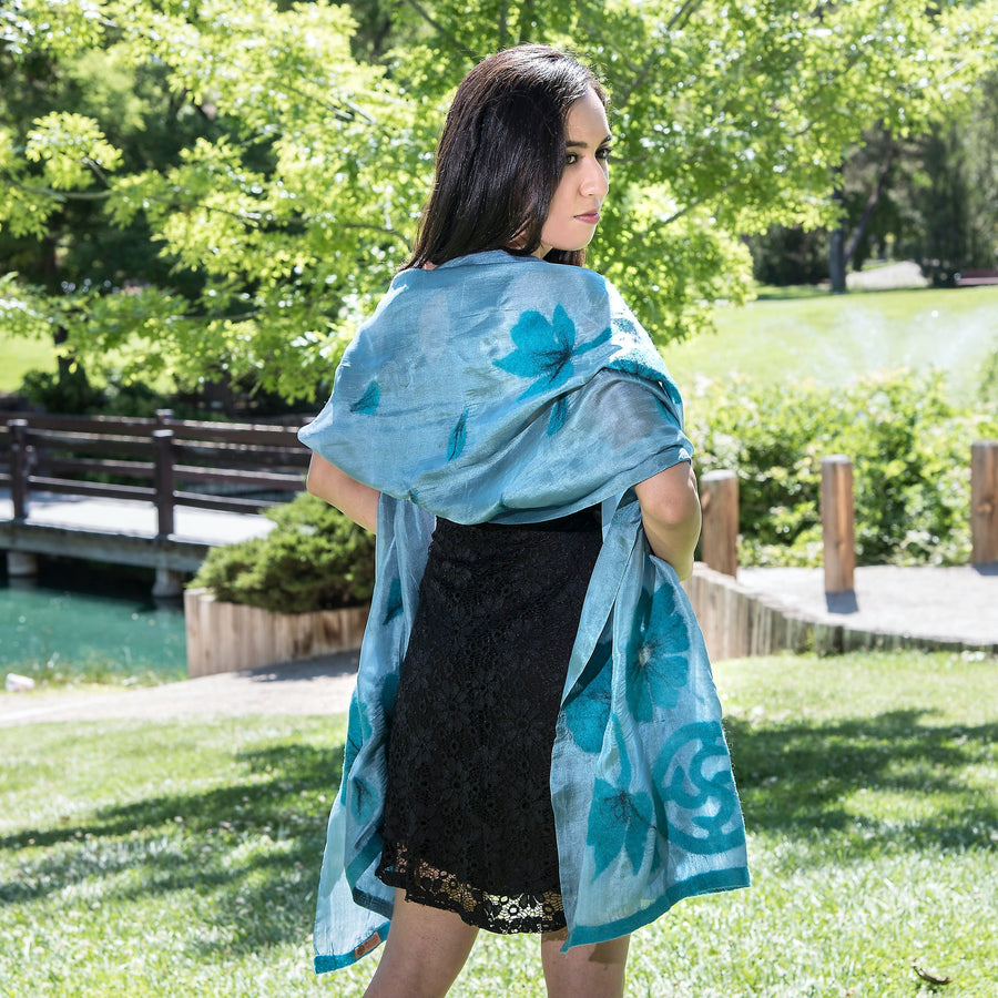 NAWBO teal handmade felted silk scarf/shawl from Kyrygzstan