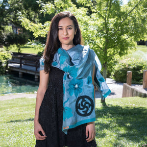 Handmade NAWBO Felted Silk Scarf with Black Logo, From Kyrgystan