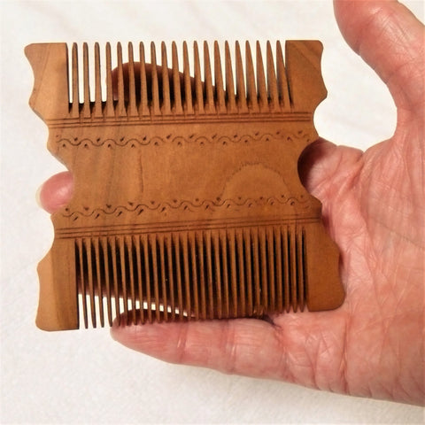 Hand Carved Comb, Square - Apricot Wood - Fair Trade