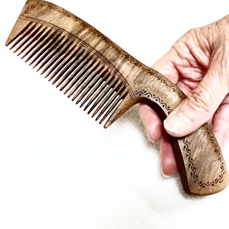 Hand Carved Wooden Comb with Handle-Walnut - Fair Trade (Wide Teeth or Narrow Teeth) - HoonArts - 1