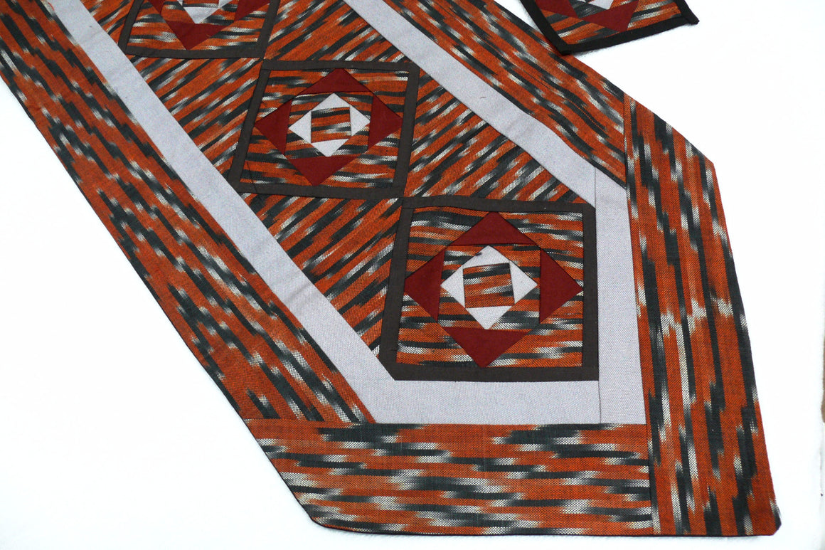 Ikat Hand Quilted Table Runner with Coasters Orange  Gray - HoonArts - 1