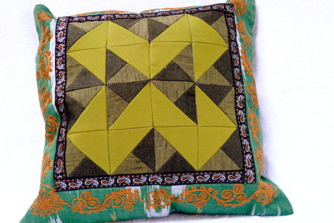 "Ikat and Embroidery Pillow Cover, ""Kurok"" (Patchwork),"
