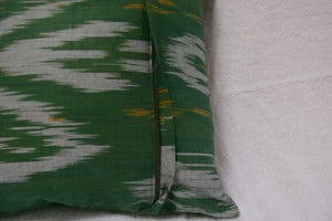 "Ikat and Embroidery Pillow Cover, ""Kurok"" (Patchwork), - HoonArts - 3"