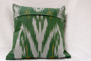 "Ikat and Embroidery Pillow Cover, ""Kurok"" (Patchwork), - HoonArts - 2"