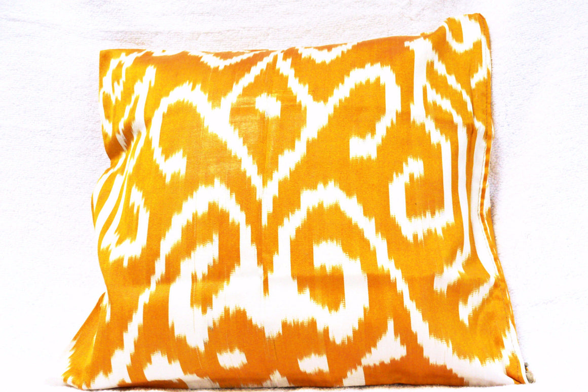 Ikat Pillow Cover, Yellow and White, Handmade, - HoonArts