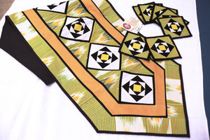 Ikat Hand Quilted Table Runner with Coasters Green Yellow - HoonArts - 1