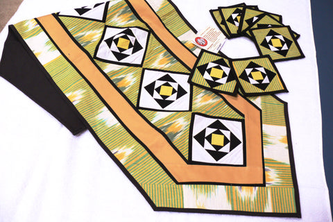 Ikat Hand Quilted Table Runner with Coasters Green Yellow