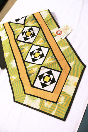 Ikat Hand Quilted Table Runner with Coasters Green Yellow - HoonArts - 2