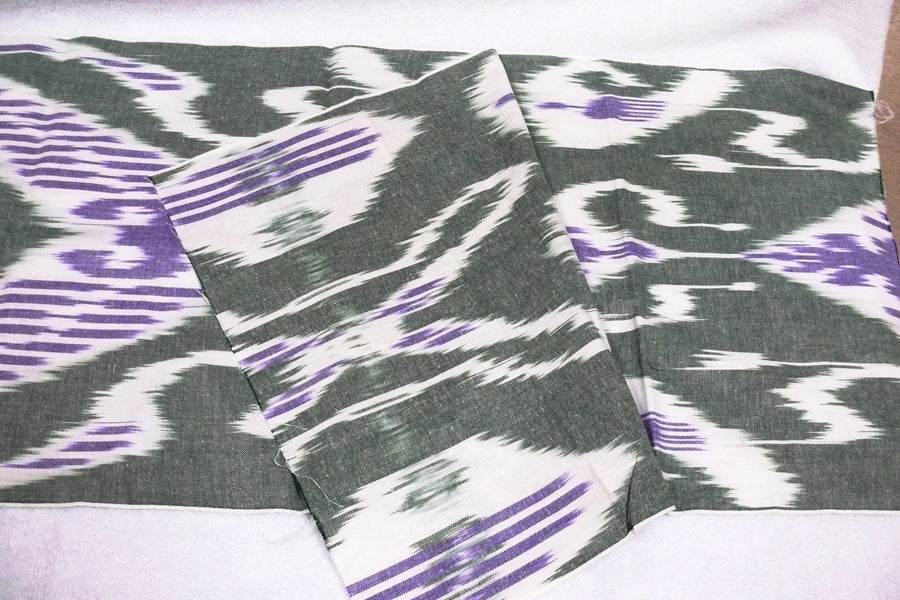 Hand-dyed, Handwoven,Ikat Fabric, Cotton White, Green and Purple - HoonArts - 1
