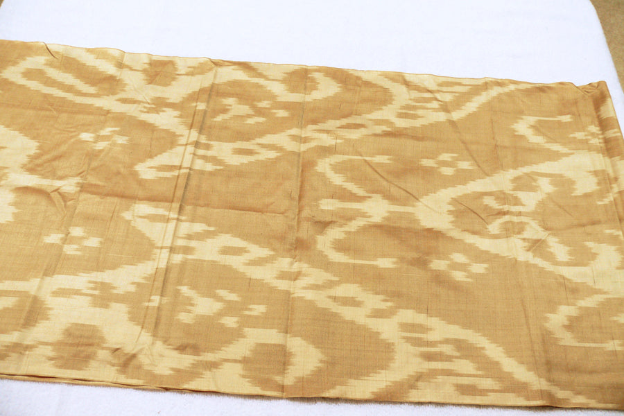 Hand-dyed, Handwoven, Ikat Fabric, Silk Brown and Tan - HoonArts - 1