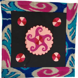 Ikat & Suzani Pillow Cover, Pink, Blue & Grey - HoonArts