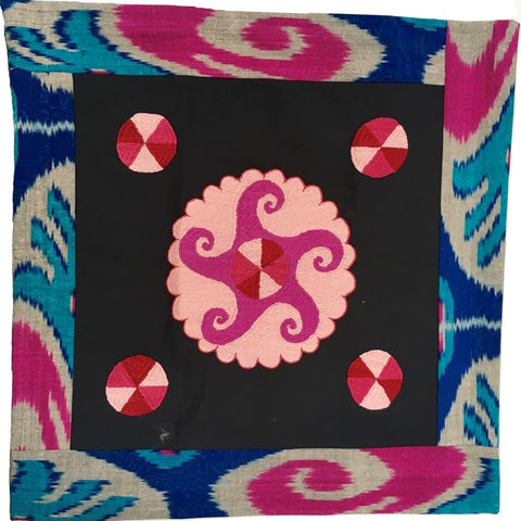 Ikat & Suzani Pillow Cover, Pink, Blue & Grey