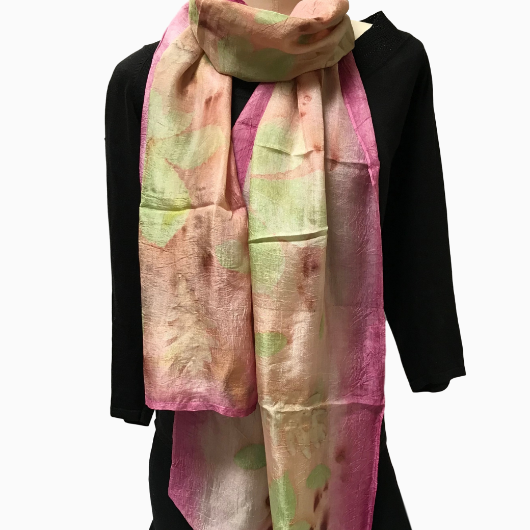 Kyrgyz Eco-Printed Silk Scarf, Pink Accents