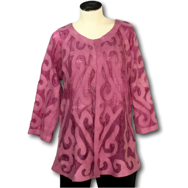 Pink Felted Silk Jacket from Kyrgyzstan