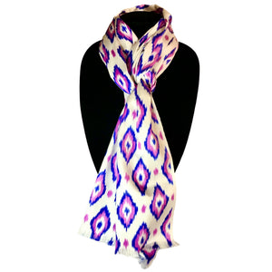 Uzbek Handwoven Silk Ikat Scarf-Purple & Blue