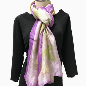 Kyrgyz Eco-Printed Silk Scarf, Purple Accents