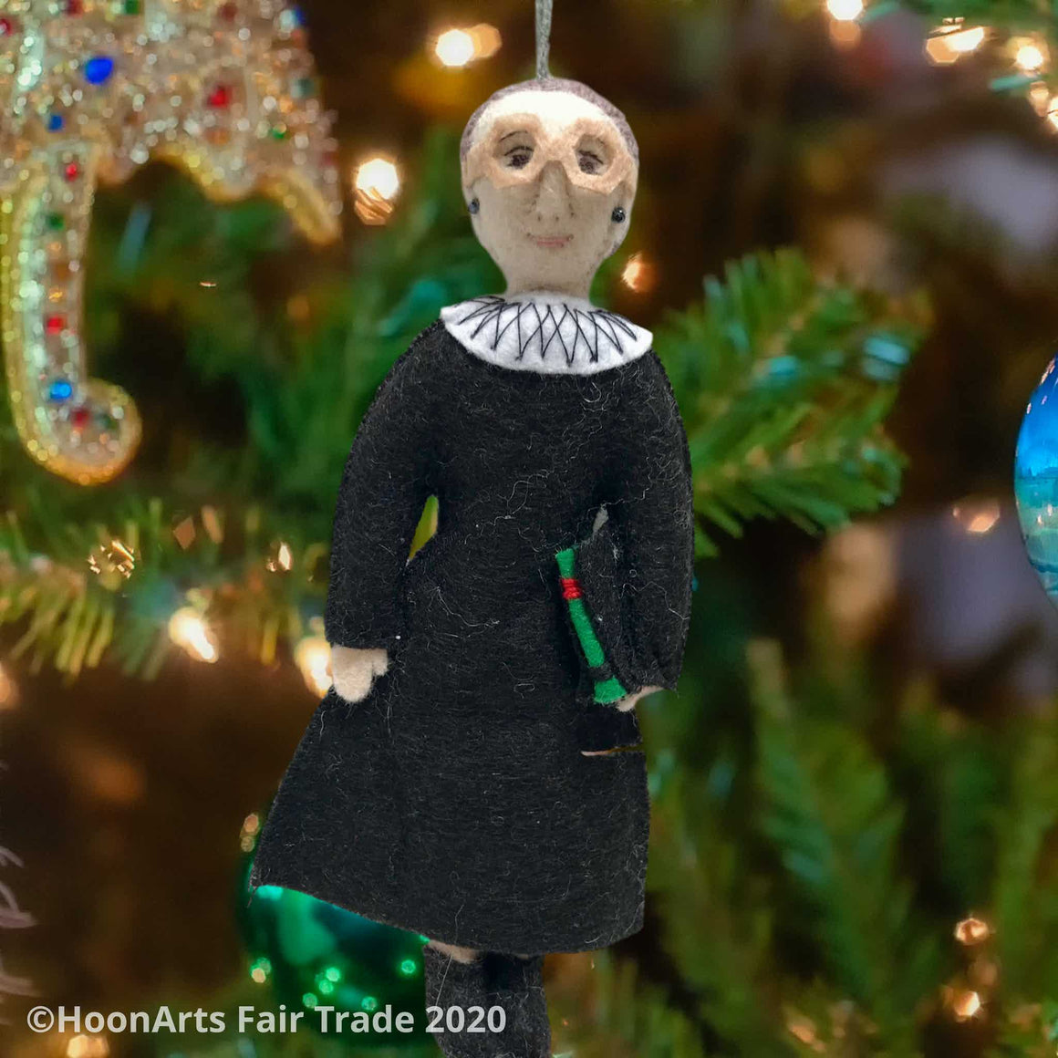 RBG Handmade Felted Ornament, Dressed in Black Judicial Robes with White Collar and Law Book in Her Hands, Handing on a Christmas Tree