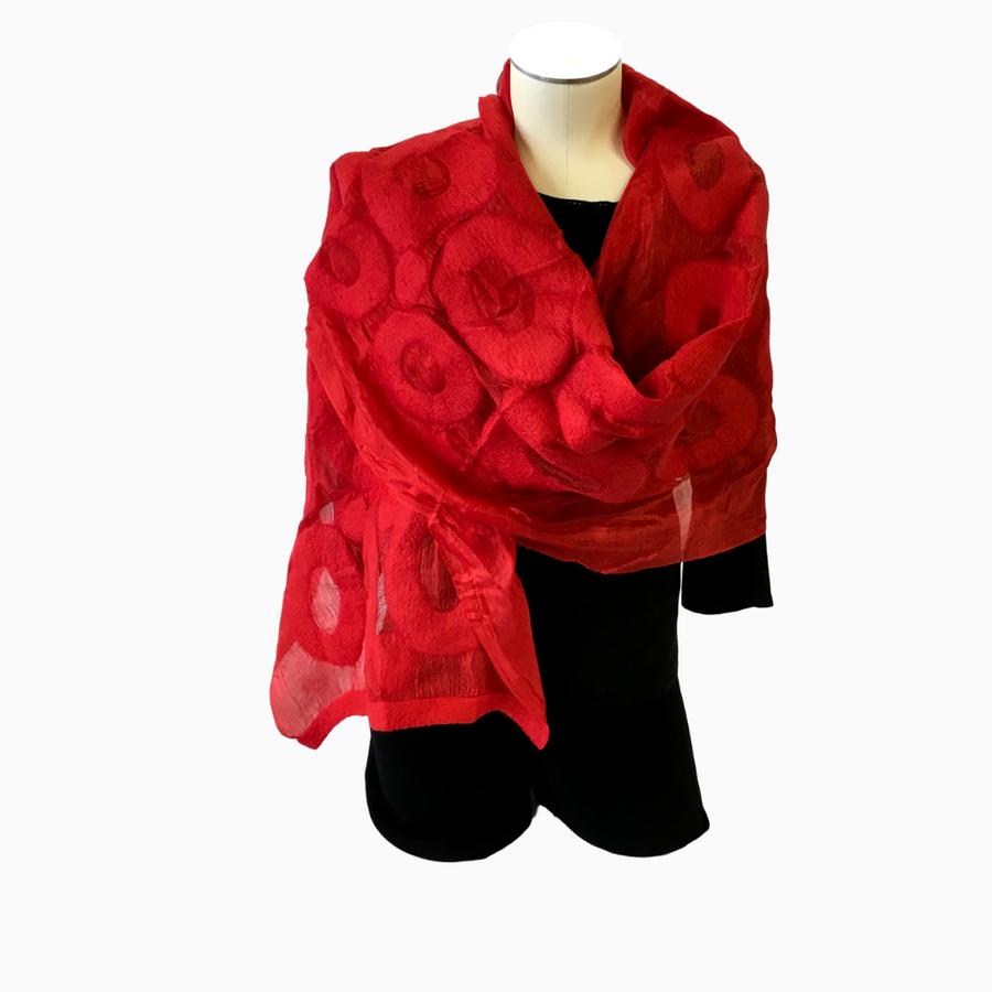 Handmade Felted Silk Scarf-Shawl from Seven Sisters of Kyrgyzstan-Red Circles on Red- | HoonArts, shown on mannequin torso dressed in black