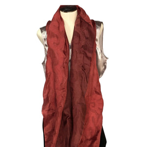 Red Kyrgyz Felted Silk Scarf/Shawl, Double-Sided
